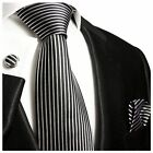 Black and Silver Silk Tie, Cufflinks and Pocket Square by Paul Malone