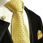 Yellow and Blue Silk Tie, Cufflinks and Pocket Square by Paul Malone
