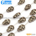 13x18mm Carved Ghost Skull Silver Gray Pyrite Beads Jewelry Making Beads 13 Pcs