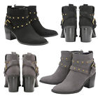 Dolcis Piper Womens Ankle Boots Ladies Block Heeled Studded Buckle Biker Shoes
