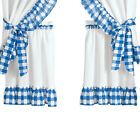 Samantha Checkered Country Style Tier Rod Pocket Window Curtain Set
