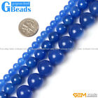 Natural Blue Agate Gemstone Round Beads For Jewelry Making Free Shipping 15""