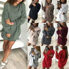 Plus Size Womens Crewneck Casual Hoodie Shirts Long Tops Jumpers Mini Shirtdress