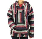 Large Hoodie Baja Hippie Surfer Mexican Poncho Sweater Drug Rug Assorted Colors