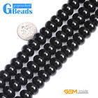 Natural Black Onyx Agate Rondelle Spacer Beads For Jewelry Making Free Shipping