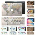 """World Map Rubberized Hard Case Keyboard Cover For Macbook Pro Air 11"""" 12"""" 13"""" 15"""