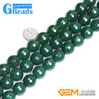 Natural Stone Green Agate Faceted Round Beads For Jewelry Making Free Shipping