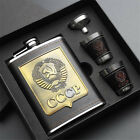 New 8oz Stainless Steel Hip Flask Liquor Whiskey Drink +Cups Funnel Box Set Gift