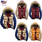 Men's Fur Collar Hooded Parka Winter Thicken Down Coat Outwear Jacket Warm Lot