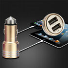 Dual USB Ports Car Charger Adaptor Stainless Steel Bullet Escape Safety HammerJR