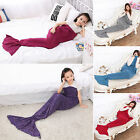 Adult Mermaid Tail Knitted Hand Crocheted Soft Warm Sleeping Bag Wrap Blanket US image