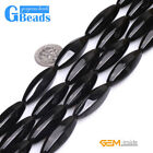 """Free Ship 12x30mm Olivary Faceted Black Agate Jewelry Making Beads Strand 15"""""""