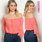 New Women's Off Bare Cold Shoulder Summer Crop Top Blouse Size 8 10 12 S M L