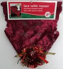 "NEW Wine Christmas Lace & Ornament Table Runner 100% Polyester 13"" x 45"" Choice"