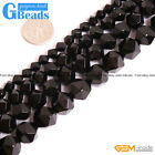 """Natural Black Onyx Agate Gemstone Faceted Polygonal Beads Free Shipping 15"""""""
