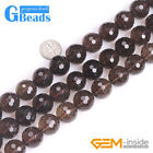 Natural Smoky Quartz Faceted Round Beads For Jewelry Making Free Shipping 15""