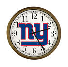 "FC391 NFL TEAM THEME LOGO 15"" ROUND WALL CLOCK CAPPUCCINO ESPRESSO FINISH FRAME"