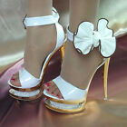 Women's Diamante High Heels Glitter Hollow Strappy Wedding Shoes Summer Sandals