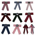 Elegant Stripe Bowknot Scarf Brooches Pins Trendy Cloth Clip Tie Bow Brooches LE