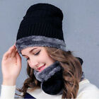 Fashion Winter Women Hat Skiing Beanies Wool Knitting Outdoor Hats Warm 2PC Set