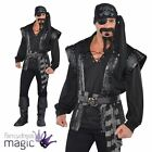 Adult Mens Dark Sea Scoundrel Black Beard Pirate Costume Mens Fancy Dress Outfit