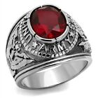 Stainless Steel Men's US Army Military Ruby Red Ring - Sizes 7-14