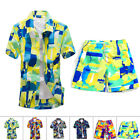 Mens Short Sleeve Floral Hawaiian Shirt Tropical Beach Holiday Party Tops/Pants