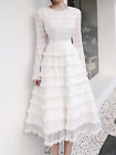 Chic Womens Sweet Lace Long Sleeve Dress Slim Fit Round Neck White Bubble Skirt