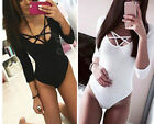 New Womens Choker V Neck Bodysuit T-Shirt Ladies Plunge Stretch Tops Blouse 6-12