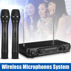 Pro 2-CH Channel VHF Wireless Microphone System Dual Handheld Mic Metal Receiver