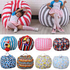 Внешний вид - Kids Storage Bean Bag Stuffed Animal Plush Toy Soft Pouch Stripe Fabric Chair