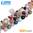 """Natural Multi-Color Mixed Stone Round Spacer Beads for Jewelry Making 15"""" in Lot"""