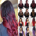 black hair with ombre red - Red Hair With Black Wig Real Natural Synthetic Hair Halloween Costume Full Wigs