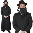 MENS RABBI COSTUME LONG COAT HAT WITH SIDEBURNS BEARD JEWISH FANCY DRESS OUTFIT