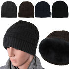 Men Soft Stretch Cable Knit Lined Thick Warm Winter Wool Slouchy Beanie Hat Ski
