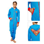 Adults Official DC Comics Superman Pyjama New Superhero Zip Up Hooded Jumpsuit
