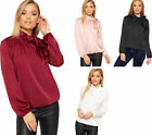 Womens Tied Neck Long Sleeve Satin Party Blouse New Ladies Plain Stretch Top