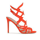 Womens Cut Out Style Gold Buckle Stiletto High Heels In Orange Faux Suede UK 3-8