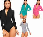 Womens Plunge V-Neck Pleated Bodysuit Ladies Long Sleeve Slinky Leotard Top