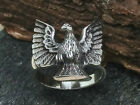 Adler Vogel Ring 925 Silber Ring Biker Wappen Tier eagle