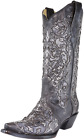 Corral Women's Grey Inlay & Embroidery Cowgirl Boot - Black