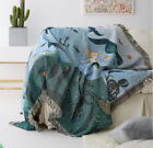 Mermaid &Sea Animal Fringed Blanket Tapestry Sofa Cover Bed ArmChair Throw Cover image