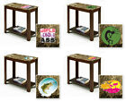 FC698 NEW THEMED LOGO CAPPUCCINO ESPRESSO WOOD FAUX MARBLE END TABLE NIGHT STAND