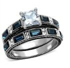 Stainless Steel Sapphire Blue and Clear Cubic Zirconia Wedding Ring Set 5 - 10