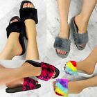 Womens Ladies Fluffy Faux Fur Flat Slider Slipper Summer Holiday Flip Flop Shoe