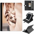 U-CAT02 CUTE CAT UNIVERSAL PROTECTIVE TABLET LEATHER FLIP WALLET 360 SWIVEL CASE