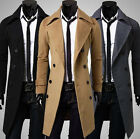 US Warm Winter Mens Fashion High Grade Trench Coat Peacoat Long Jacket Overcoat