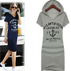 US Women Slim Hoodie Dress Letter Printed Blouse Short Sleeve Long T-Shirt Dress