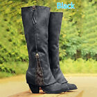 Winter Womens Leather Knee High Slouch Mid Heel Biker Riding Boots Shoes Fashion