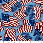 "QT DAN MORRIS ""HOME OF THE BRAVE"" 24808B PATRIOTIC USA FLAGS FABRIC- SELECT SIZE"